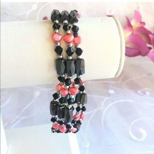 Jewelry - Hematite PEARLS BRACELET Pink Pearls Wrap Jewelry